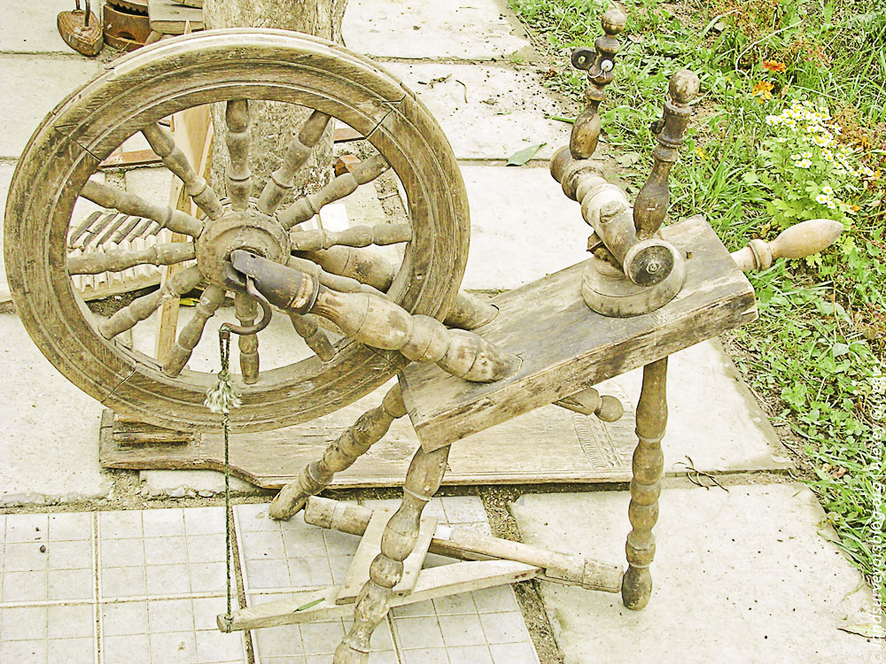 Antique wood spinning wheel Pereslavl-Zalessky
