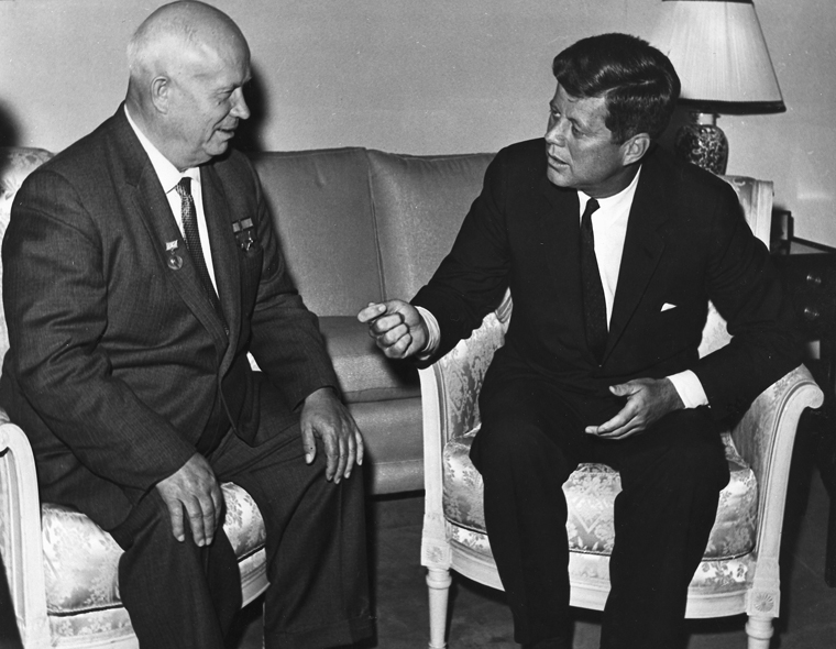 resident Kennedy meets with Chairman Khrushchev at the U. S. Embassy residence, Vienna. U. S. Dept. of State photograph in the John Fitzgerald Kennedy Library, Boston.