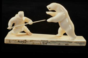 "Sculptural group ""Bear hunting with a spear"", 1965, by Huhutan. Walrus tusk"