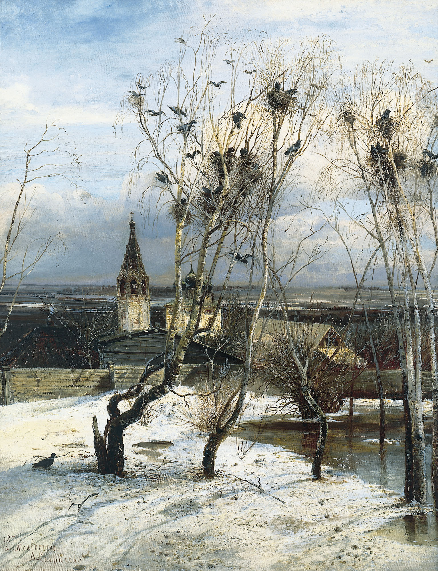 Alexei Savrasov - Rooks have returned, oil on canvas (1871)