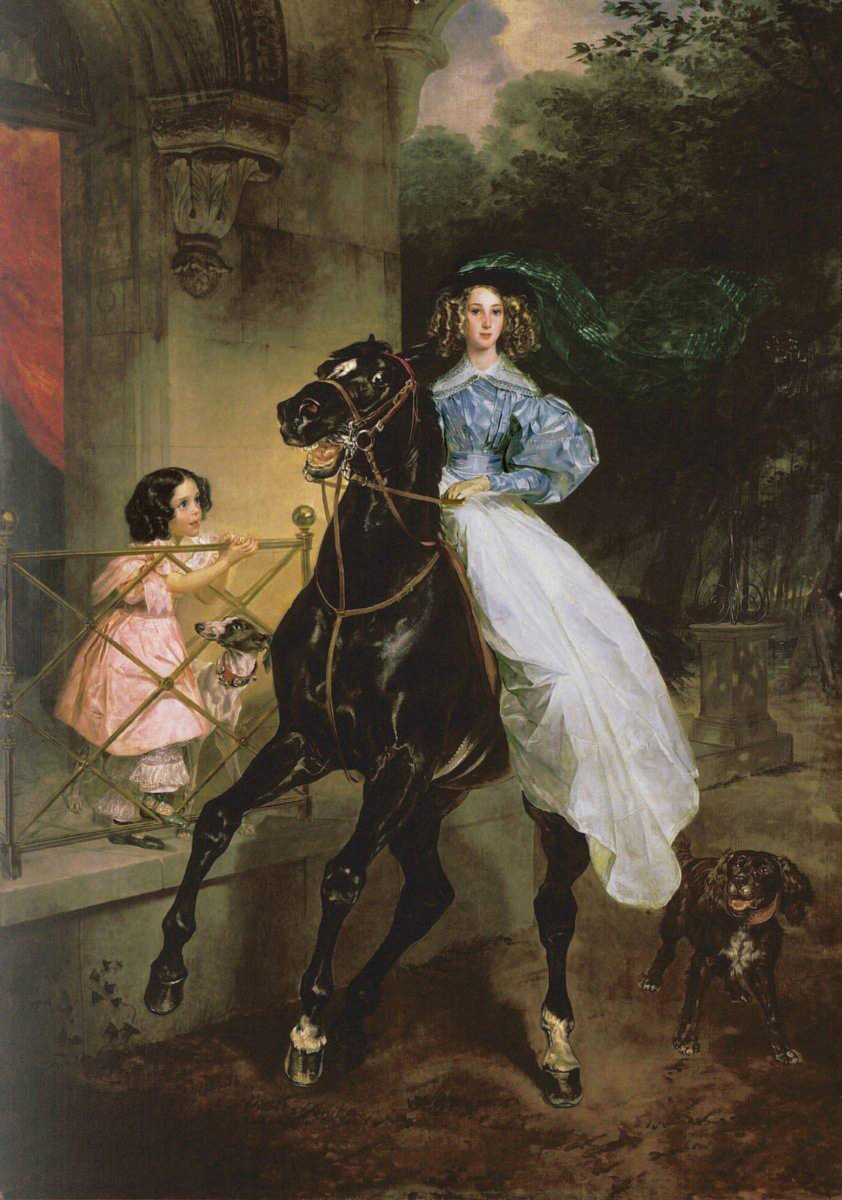 Karl Bryullov - A rider. Portrait of Giovanina and Amacilia Pacini, the pupils of Countess Samoilova, oil on canvas, (1832)