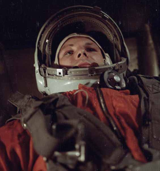 Photo Cosmonaut Yuri Gagarin before the launch of the spaceship Vostok