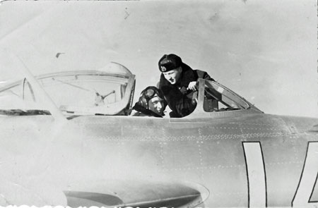 Soviet pilot P. Isaev in the cockpit of his fighter jet, airport Noi Bai, Vietnam