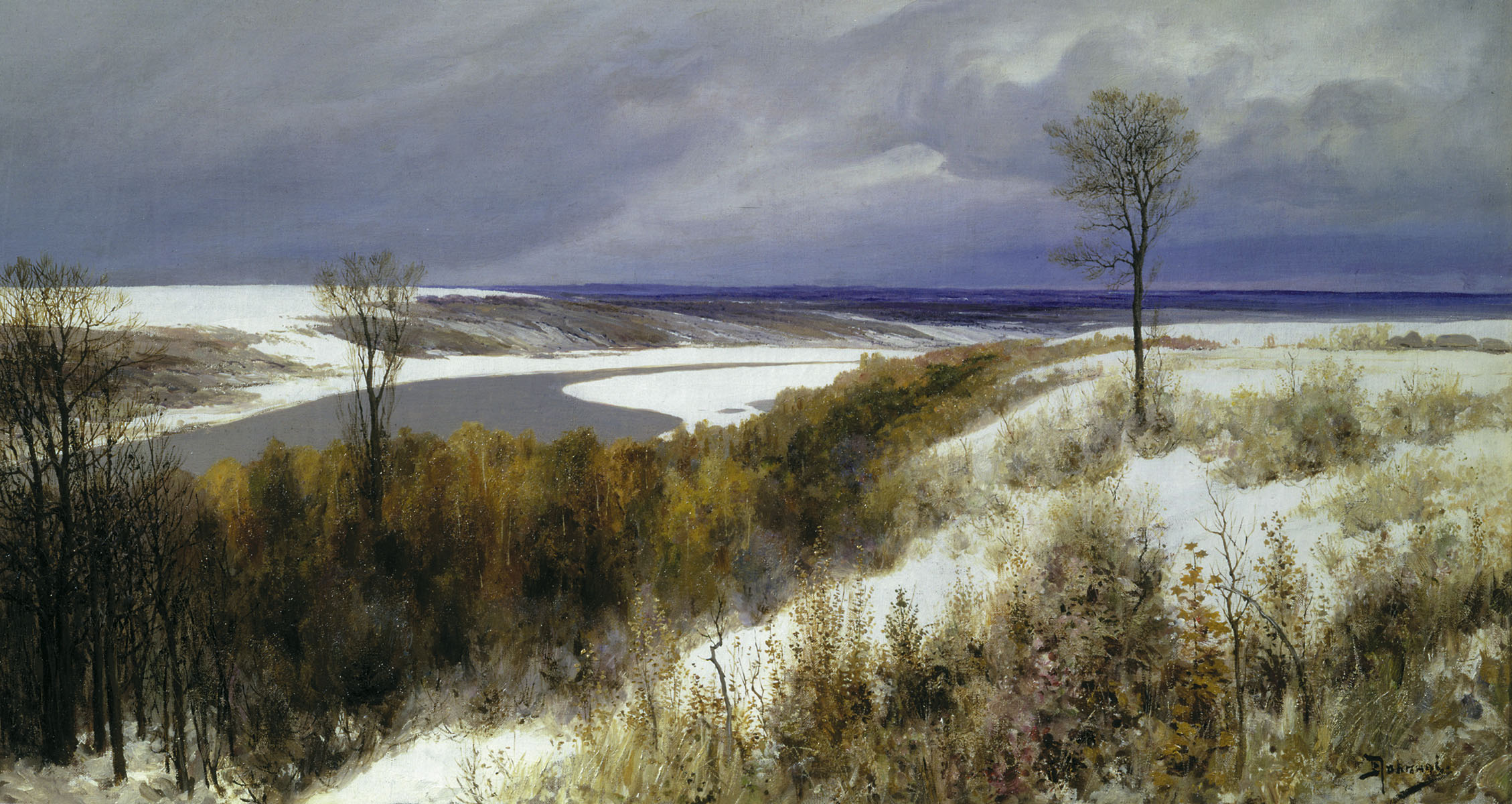 Vasily Polenov - Early snow, oil on canvas, (1891)