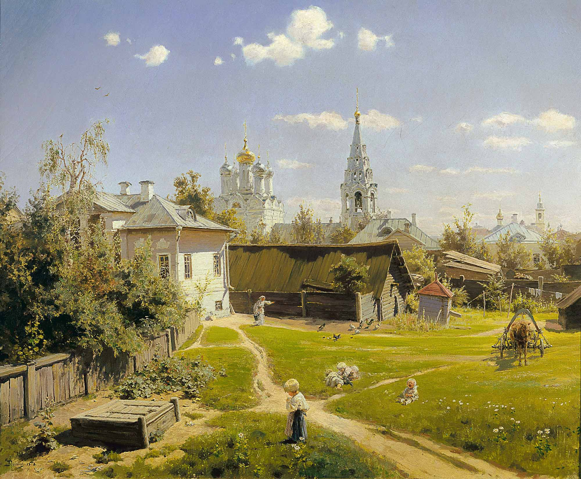 Vasily Polenov - Moscow courtyard, oil on canvas (1878)