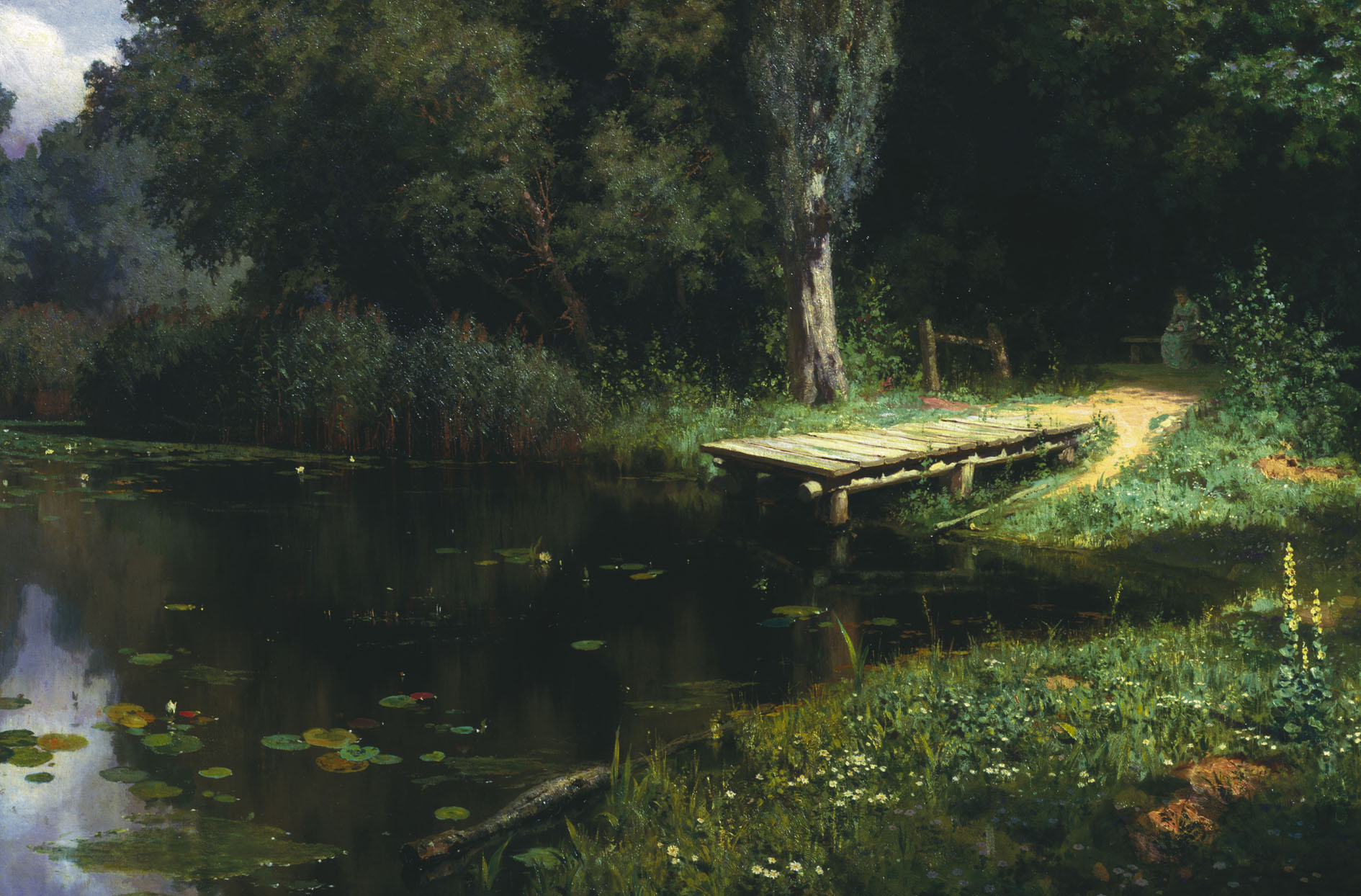 Vasily Polenov - Overgrown pond, oil on canvas (1879)