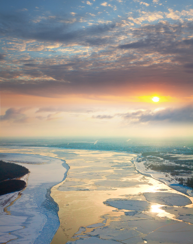 The view from an airplane of the Ob River during the ice drift