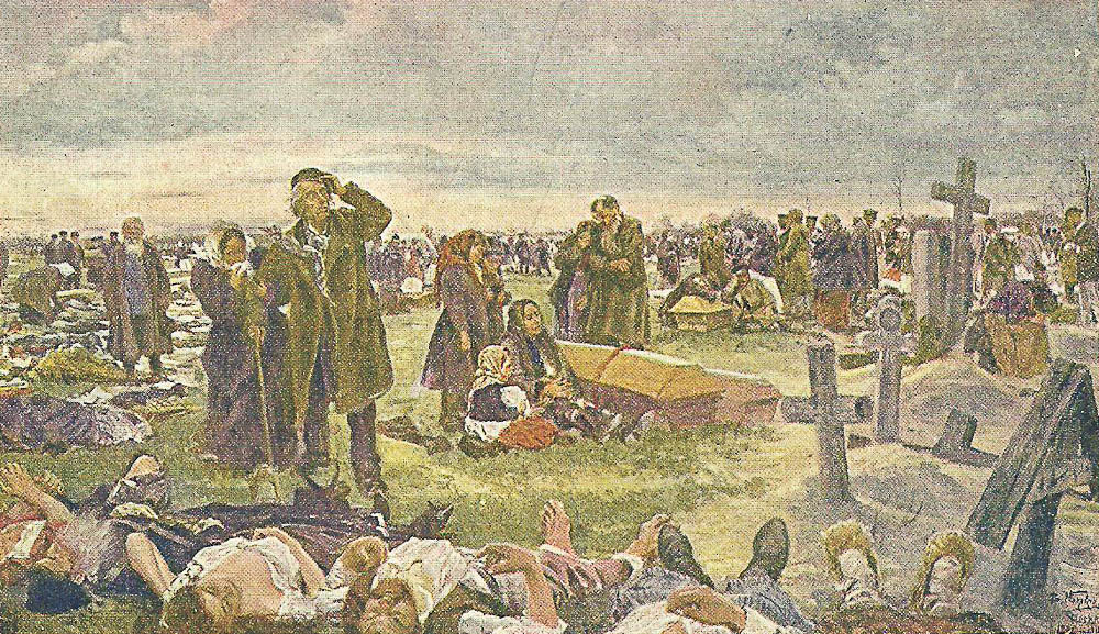 Vladimir Makovsky. On Vagankovsky cemetery. Burying the victims of Khodynka 1896 - 1901
