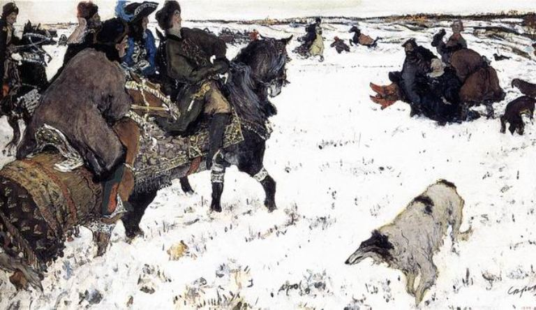 Peter I on hunting with dogs (1902). V. Serov