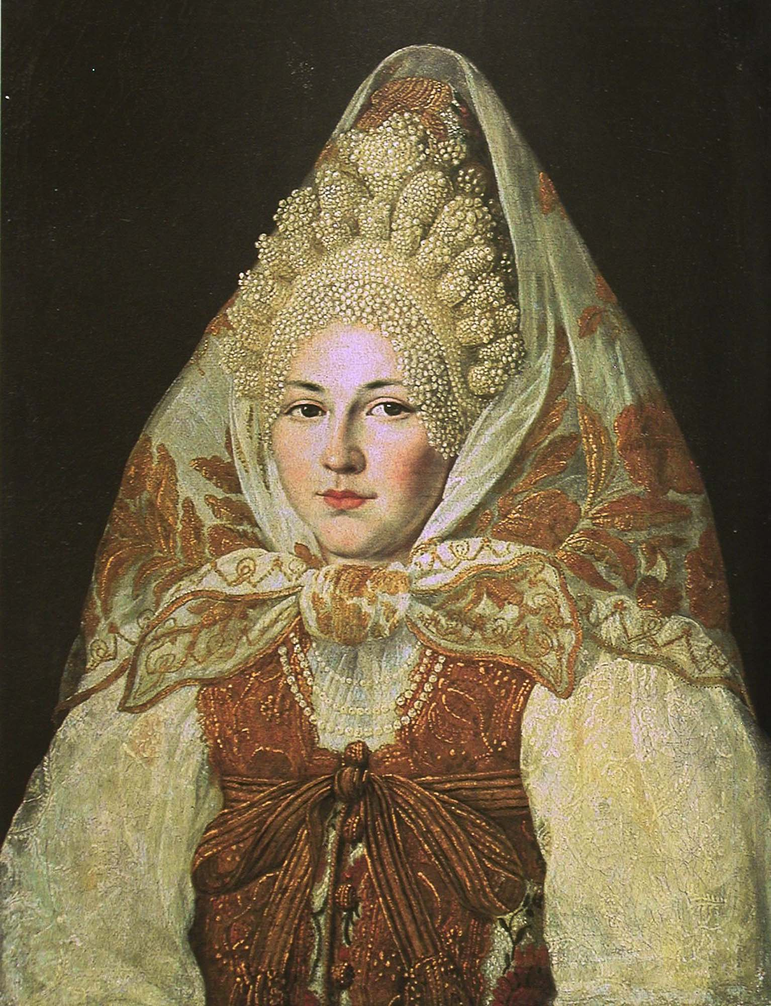 Woman in Toropetsky pearl headdress and a shawl