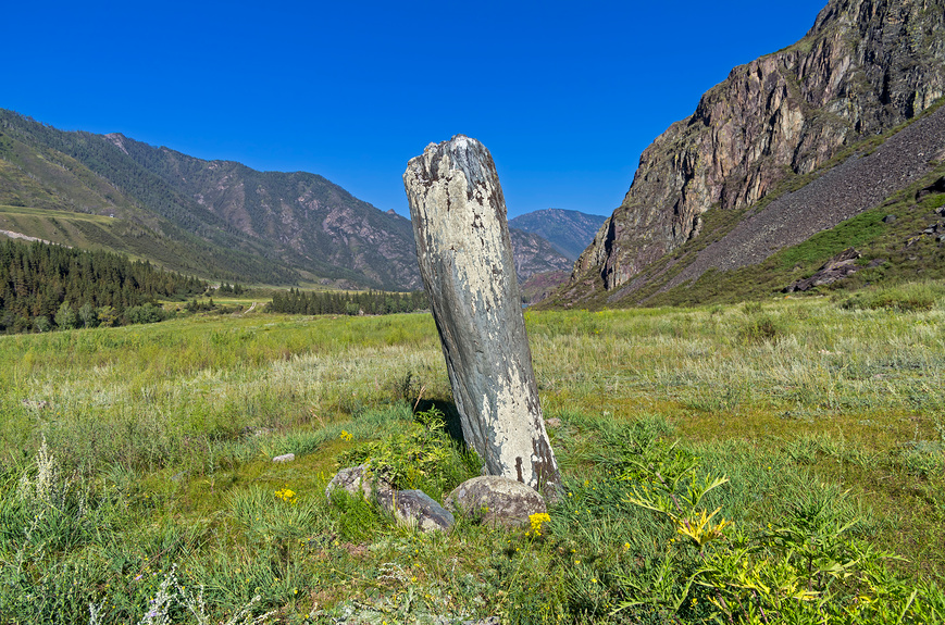 Menhir on the river Katun, Altai