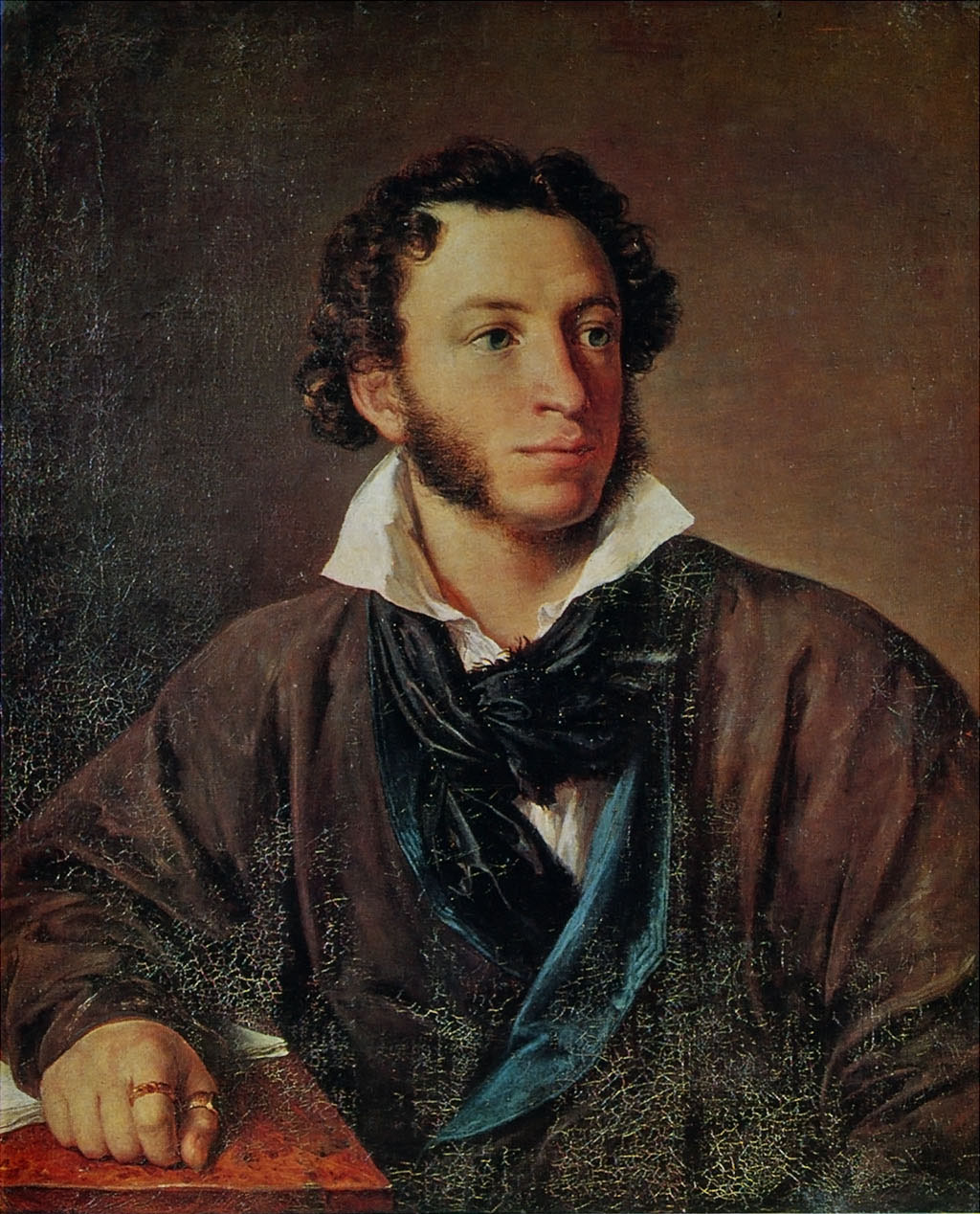 The portrait of Alexander Sergeyevich Pushkin by Vasily Tropinin