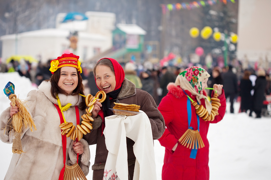 Women celebrating Maslenitsa festival (pancake week)